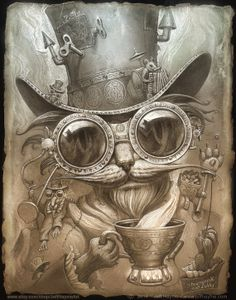 Steampunk Cat Painting// Steampunk Cat print // by JeffHaynieArt, $28.00