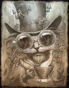 Steampunk Cat Painting// Steampunk Cat print // by JeffHaynieArt, $28.00