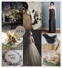 Chamomile + Charcoal, black and nude wedding, black and beige, oatmeal wedding dress