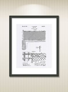 This reproduction was digitally restored and in some cases altered to remove defects or unwanted artifacts present in the original patent document.  Buy more and save! Buy ... #patentart #patentprints #vintage #blueprint #tennis