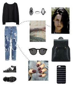 """i'm broken"" by tecca-cmxix ❤ liked on Polyvore featuring beauty, Dr. Martens, Illesteva, Topshop and One Teaspoon"