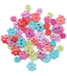 Favorite Findings Mini Shaped Buttons-Funky Flowers 49/pkgFavorite Findings Mini Shaped Buttons-Funky Flowers 49/pkg,