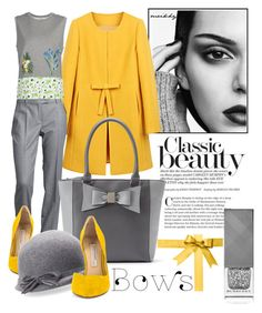 """Bows contest"" by meikhy ❤ liked on Polyvore featuring MaxMara, Apt. 9, STELLA McCARTNEY, Kristin Cavallari, Kathy Jeanne, Burberry, yellow, bows and grey"