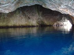 The Blue Cave (Plava Špilja) in the coast of Adriatic Sea, near Herceg Novi, Montenegro.