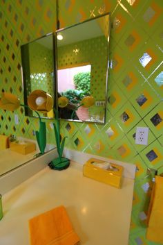 More awesome early 70s wallpaper | Palms Springs Modernism Week 2013, Marrakesh Designer Showcase, Ann Judy, 1970's time capsule home