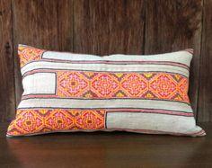 Vintage Homespun Hemp Textile Decorative Pillow