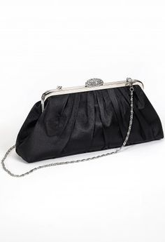 """Pleated clutch bag features:•22"""" chainlink strap•Rhinestone top closure•Inner pocket•Metal frame"""