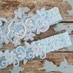 Wedding Garter Set Something Blue Hand Dyed Light by lovelikestyle