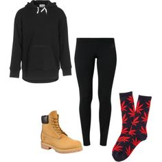 ACNE Kurt Black Cotton Hoodie- jades24.com Nike Leg-A-See Women's Tights- nike.com Women's 6-Inch Premium Waterproof Boots- http://shop.timberland.com/ HUF The Plant Life Socks in Navy Red- http://www.karmaloop.com/