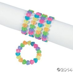 Fun Express Plastic Beaded Rainbow Heart Bracelets - Easter  Novelty Jewelry Set (1 Dozen) -- Click on the image for additional details.