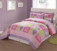 Pink Happy Owl Comforter Set for Little Girls Twin or Full/Queen