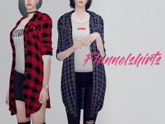 Long flannel shirts F by KK's at TSR • Sims 4 Updates