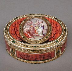 "Antique Swiss snuffbox, gold and enamel, c1780-90. Dimensions 1-3/8"" x 3-1/4""."