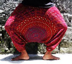 Maroon Indian/tribal desin multi color peacock pattern Harem pants,Psy wear,Festival pants, Gypsy boho Alibaba Baggy festival Burning man