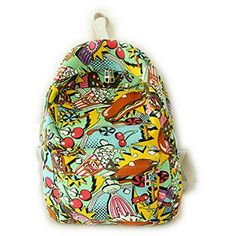 San Tokra Harajuku Teenager Girls Canvas Backpack Cartoon Style Lightweight School Book Bag Casual Travel Daypack Shoulders Bags Food -- Click image to review more details.