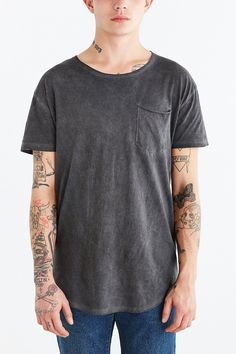 Feathers Oil Wash Long Scoop Neck Long Tee