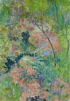 Regen im Frühling Painting, Art, Rain, Seasons Of The Year, Switzerland, Idea Paint, Sketches, Landscape, Art Background