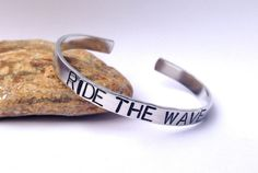 Ride The #Wave  Cuff #Bracelet by BlissfulBirdDesigns on Etsy, $16.95 #surf #ocean #stamped