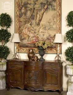 Country French Decorating with Antiques ~ Antiques, Antique Furniture, Antique Home French Country Dining, French Country Furniture, French Home Decor, French Country Style, French Country Decorating, Antique Furniture, Home Furniture, Glam House, Antique Buffet
