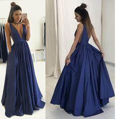 Dark Blue Deep V-neck Prom Dress - Floor-length Pleated Sleeveless,Long prom dress,Sexy dress
