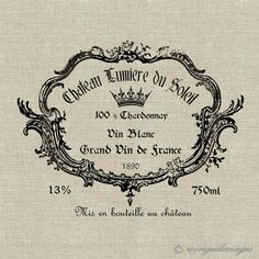 Vintage French Wine Label Image No27 Digital by WingedImages, $1,00