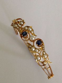 Exceptional Art Nouveau 15ct Gold Seed Pearl Sapphire Amp Diamond Set Bangle   eBay