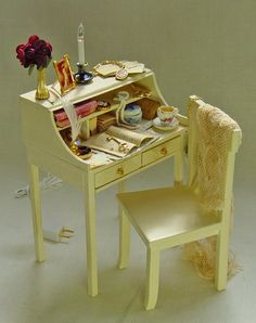 Dollhouse Miniature Lady's Writing Desk. Just bought this OOAK miniature for my dollhouse!