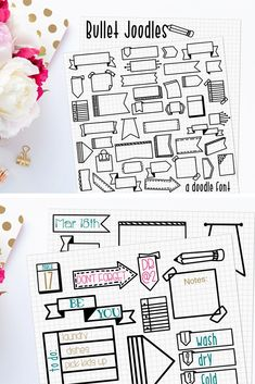 Bullet Joodles Doodles font for your digital bullet journal! Use these doodle boxes and frames for reminders, lists, and pretty up your digital bujo. You can even use these doodles to make your own stickers! Bullet Journal Boxes, Digital Bullet Journal, Bullet Journal Writing, Bullet Journal Headers, Bullet Journal Banner, Bullet Journal Aesthetic, Bullet Journal Ideas Pages, Bullet Journal Inspiration, Bullet Journal Ribbon