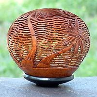 Palm tree, Coconut shell carving.