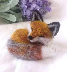 Needle Felt Sleeping Fox kit beginner/ by TheWishingShed on Etsy