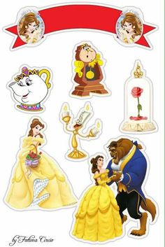 A bela e a fera Beauty And Beast Birthday, Beauty And The Beast Party, Belle Beauty And The Beast, Imprimibles Toy Story, Princess Cake Toppers, Disney Printables, Disney Princess Party, Disney And More, Princesas Disney
