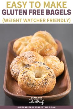 Easy to make gluten free bagels! Delicious AND healthy! These homemade bagels are baked in your oven on a regular pan no fancy cookware needed! Only 5 simple ingredients AND they're only 3 weight watcher points each! What are you waiting for? Best Gluten Free Recipes, Gluten Free Snacks, Gluten Free Breakfasts, Gf Recipes, Foods With Gluten, Gluten Free Cooking, Simple Recipes, Healthy Recipes, Bagels Sans Gluten