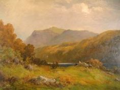 """""""Resting Mid-Hike in a Highland Landscape"""" is an oil painting on canvas signed by Sidney Watts, a pseudonym for Dan Sherrin. From the turn of the century. CIRCA DATA: 1900 DIMENSIONS: 24"""" h x 32"""" w PRICE: $2,600"""