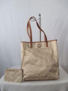 Tommy Hilfiger Handbag NS Tote Color Beige Brown Gold 6927171 250 Retail $99.00 #TommyHilfiger #Totes