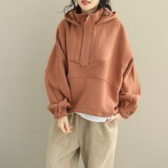 Loose Brushed Thick Hoodie Loose Fleece Women Cotton Tops – 2020 Fashions Womens and Man's Trends 2020 Jewelry trends 80s Fashion, Korean Fashion, Fashion Outfits, French Fashion, London Fashion, Boho Fashion, High Fashion, Vintage Fashion, Fashion Trends