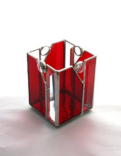 Christmas Red Stained Glass Candle Holder Box with Clear Bevels and Jewels