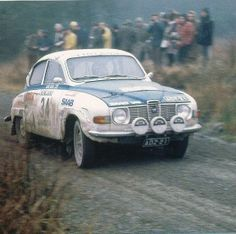 Seppo Utriainen and Klaus Letho from Finland During The Sami RAC Rally '71. One of the first rallies where the Saab96v4 was painted in the colors of Finland National.