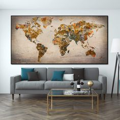 Original Travel Push Pin World Maps on Canvas Old Colorful World Map Modern Wall Map Set Office Wall Art Photo Decor on Canvas   PRINT ON CANVAS #245 - 1P Total: 14x24   36x61 cm