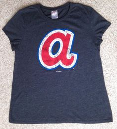 Womens Soft-Fit ATLANTA BRAVES 1970s LOGO T-SHIRT letter a navy blue/red Ladies #5thandOcean #AtlantaBraves