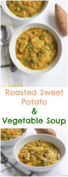 Very simple to make and packed with vegetables, this delicious roasted sweet potato and vegetable soup is perfect for all the family.