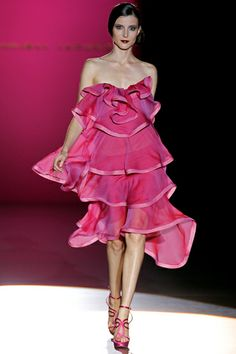 Hannibal Laguna - Spain. Couture dress.  Shades of pink.  Frilly layers.  Flirty and sweet.