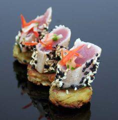 Seared tuna on a wasabi crust
