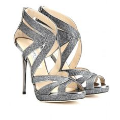 Jimmy Choo Collar Glittered-Canvas Sandals ($1,025) ❤ liked on Polyvore