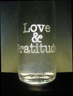 Etched Glass Water Bottle  Love & Gratitude by H2OmBottleworks, $30.00