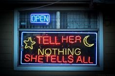 "On the way to the supermarket I saw a psychic shop set up in an old house. I pulled over to check it out. The sign read , ""Tell Her Nothing She Tells All."""