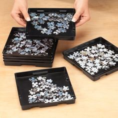 Jigsaw PUZZLE SORTING TRAYS Set Of 8 Stacking Organizer Space Saving Storage #NA
