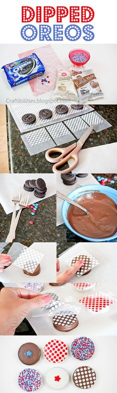 Chocolate Dipped Oreo Cookies decorated with chocolate transfer paper- Tutorial - Great party / gift idea for 4th of July