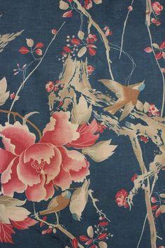 Antique French Japonisme Printed Cotton Fabric c1900 RARE Blue Floral Long Panel   eBay