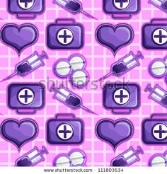 stock vector : Medical icons on a pink background: syringes, pills, heart, and first aid kits.