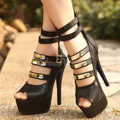 Sexy Black Coppy Leather Amazing Rhinestone High Heel Sandals From the plus size fashion community of vintageandcurvy.com